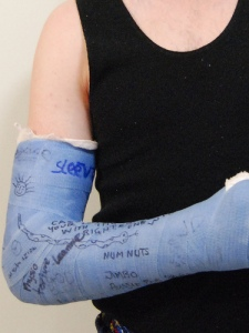 "Clearly this isn't her actual cast - just an example.  Though I may scrawl ""num nuts"" on her cast as well."