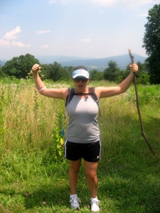 Tracy, excited to have conquered the hills!