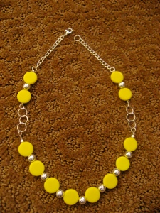 A yellow necklace I designed.  I didn't take pictures of it in progress, but this was the final result.