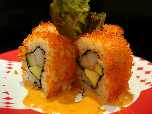 Spicy California Roll with Roe (Salmon eggs)