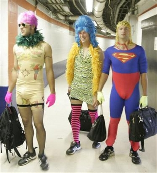 Some of the rookies of the Atlanta Braves from 2005.  An amazing example of hilarious costumes.