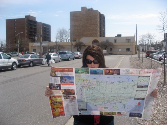 Checking out the map of Windsor.
